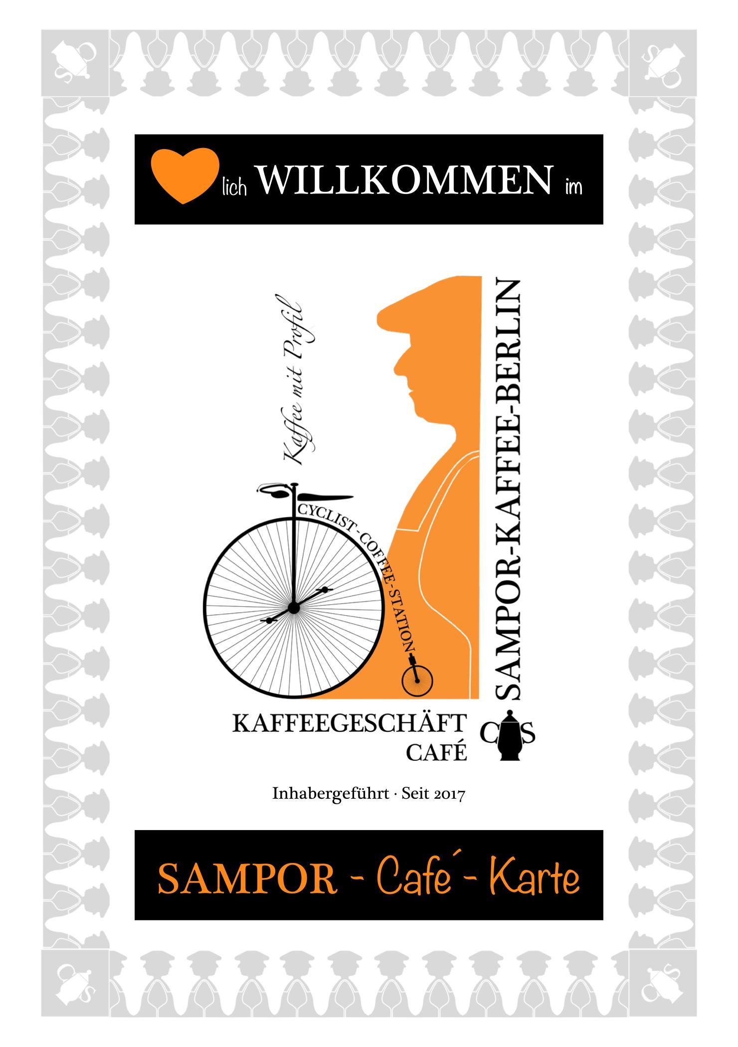 Speisekarte, Getränkekarte, SAMPOR-KAFFEE-BERLIN , Tegel, Café, Kaffeerösterei