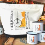 Shopping Bag & emaillierte Becher mit LOGO - SAMPOR-KAFFEE-BERLIN