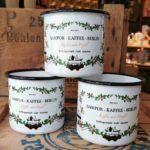 Souvenir · Geschenk · Kaffeebecher · Emaillierter Becher · SAMPOR-KAFFEE-BERLIN
